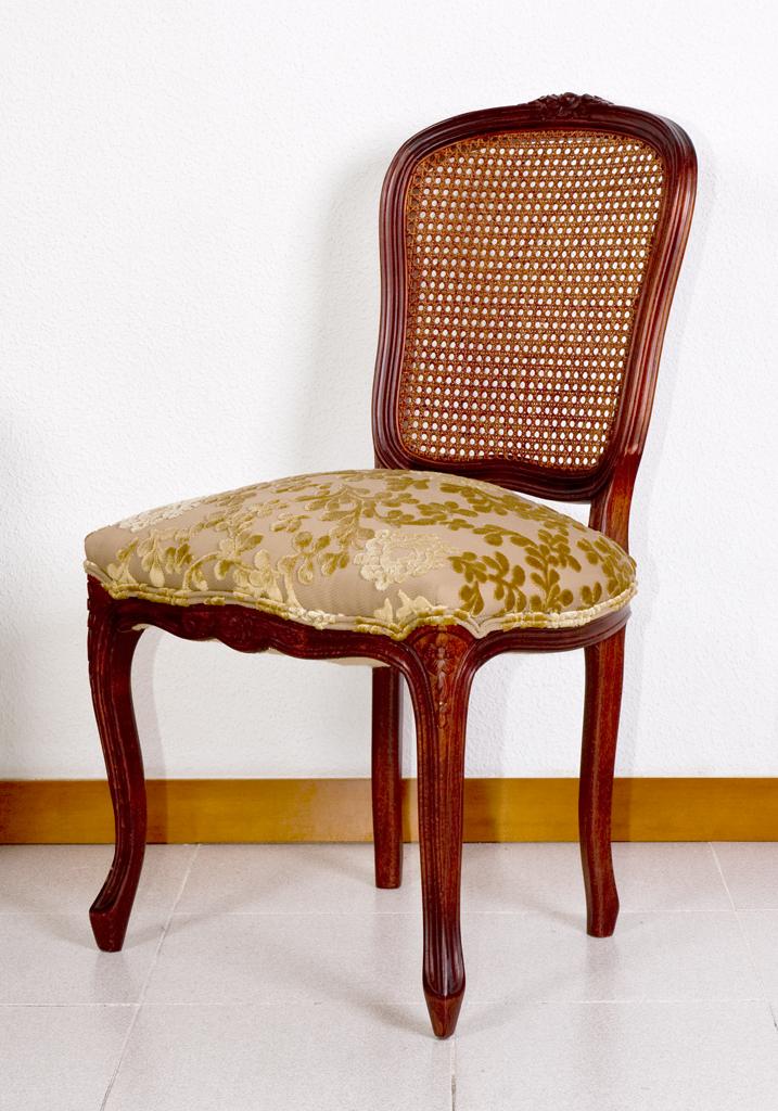 Silla luis xv respaldo rejilla el taller del mueble - Escabeles tapizados ...