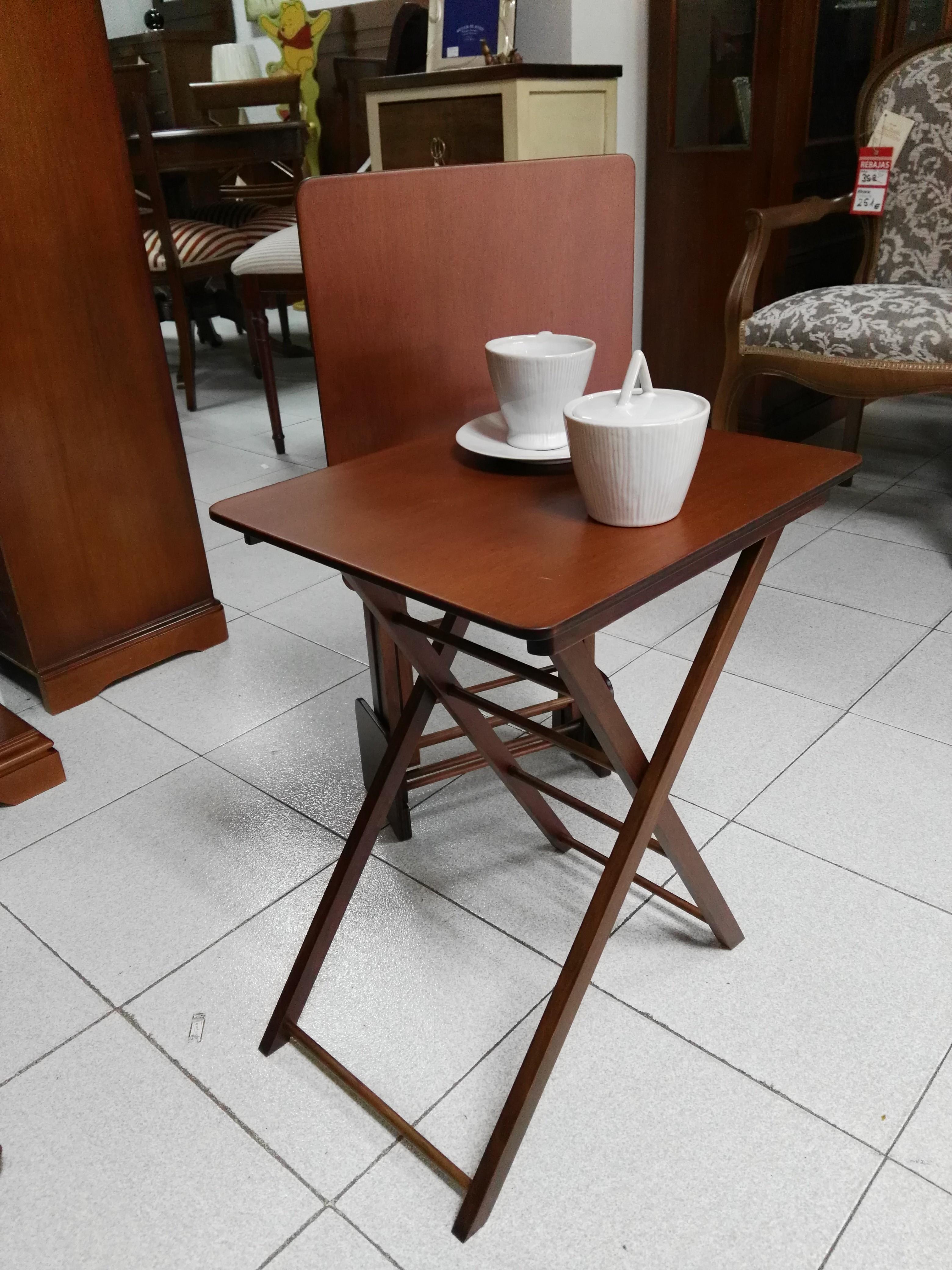 Juego 2 mesas plegables con soporte para guardarlas - Mesas plegables para salon ...