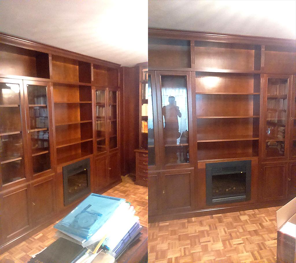 librería con chimenea