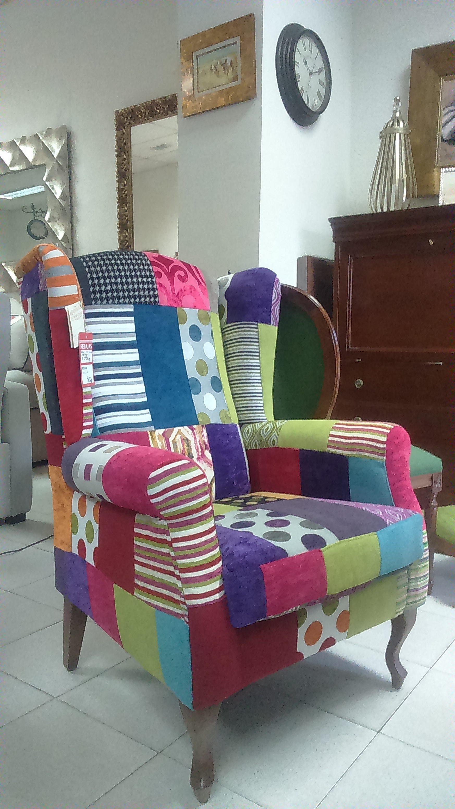 Sillon teide tapizado en patchwork el taller del mueble for Sillon orejero comodo